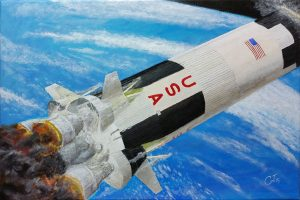 Saturn V Stage Sep, in acrylics. Yeah, that was fun.